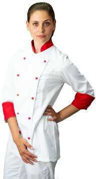 Giacca cuoco Lady Bianco/Rosso