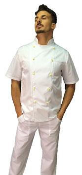 Giacca cuoco Basic Uomo con bottoni gialli, Manica corta