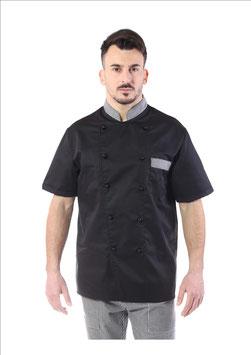 Giacca cuoco uomo Nero/ Pied de poule  Manica corta