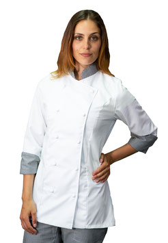 Giacca cuoco Lady Bianco/Pied de poule