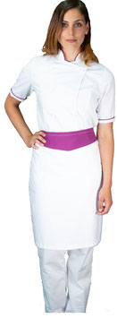 Completo Cuoco lady M/C Bianco/Viola