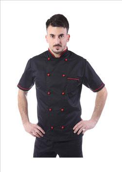 Giacca cuoco uomo Nero/Rosso Manica corta