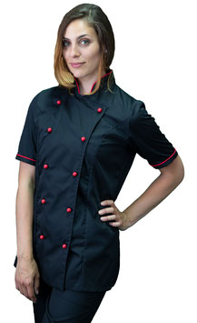 Giacca cuoco Lady M/C Nero/Rosso
