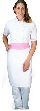 Completo Cuoco Lady M/C Bianco/Rosa