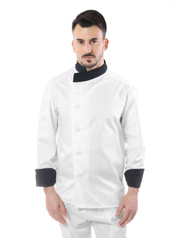 Giacca cuoco uomo Full neck  Bianco/Nero