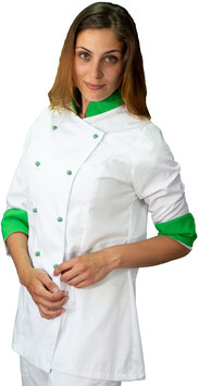 Giacca cuoco Lady Bianco/Verde