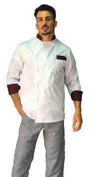 Giacca cuoco uomo bianco Step Bordeaux Manica Lunga