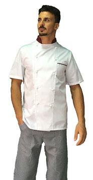 Giacca cuoco uomo Bianco step bordeaux gessato, Manica corta