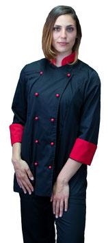 Giacca cuoco Lady Nero/Rosso