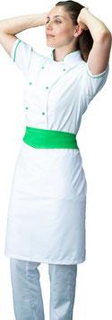Completo Cuoco lady M/C Bianco/Verde