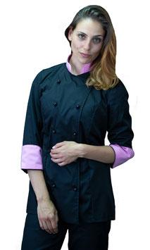 Giacca cuoco Lady Nero/Rosa