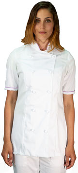 Giacca cuoco Lady M/C Bianco/Lilla
