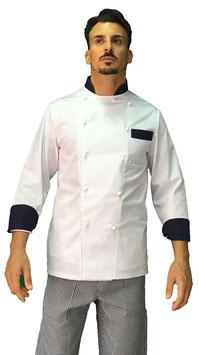 Giacca cuoco uomo bianco Step Navy Manica Lunga
