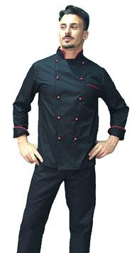 Giacca cuoco uomo Nero/Rosso Manica Lunga
