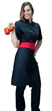Completo Cuoco Lady M/C  Nero/Rosso