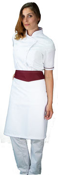 Completo Cuoco Lady M/C Bianco/Bordeaux