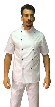 Giacca cuoco Basic Uomo con bottoni blu, Manica corta