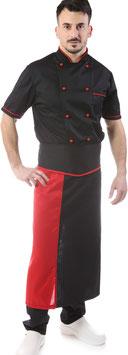 Completo Cuoco Nero Bordato rosso, Manica corta