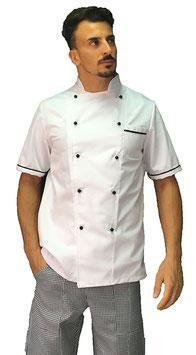 Giacca cuoco uomo Bianco/ nero, Manica corta