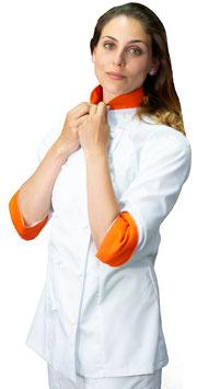 Giacca cuoco Lady Bianco/Arancio