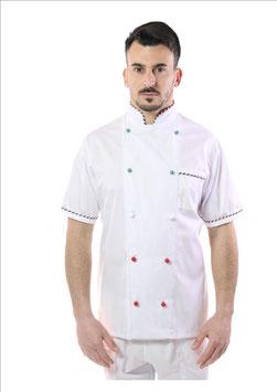 Giacca cuoco uomo Bianco Italia   Manica corta