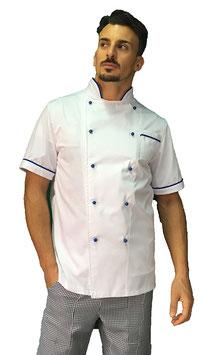 Giacca cuoco uomo Bianco\Blu, Manica corta