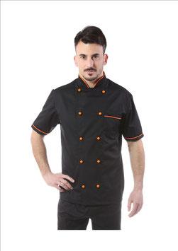 Giacca cuoco uomo Nero/Arancio Manica corta