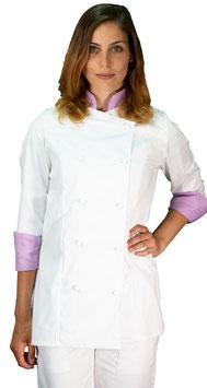 Giacca cuoco Lady Bianco/Lilla