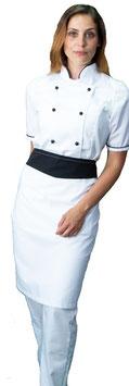 Completo Cuoco Lady M/C Bianco/Nero