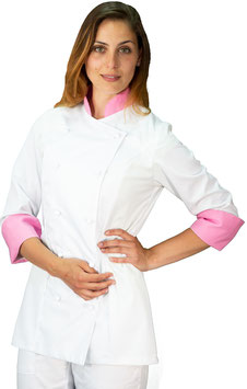 Giacca cuoco Lady Bianco/Rosa