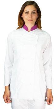 Giacca cuoco Lady Bianco/Viola
