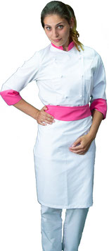 Completo Cuoco Lady Bianco/Fuxia