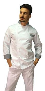 Giacca cuoco uomo Bianco/ Pied de Poule Manica Lunga