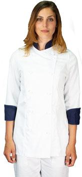 Giacca cuoco Lady Bianco/Navy