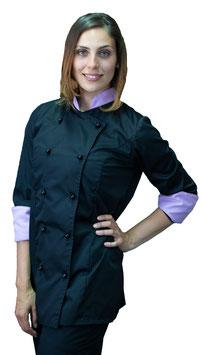 Giacca cuoco Lady Nero/Lilla