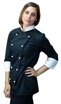 Giacca cuoco Lady Nero/Panna