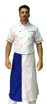 Completo Cuoco Bianco Bordato Blu, Manica corta