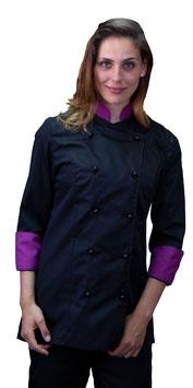 Giacca cuoco Lady Nero/Viola
