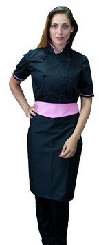 Completo Cuoco Lady M/C  Nero/Rosa