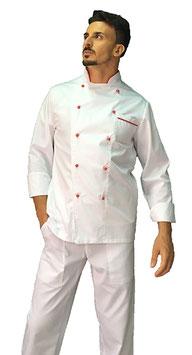 Giacca cuoco uomo Bianco/rosso Manica Lunga