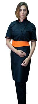 Completo Cuoco Lady M/C  Nero/Arancio