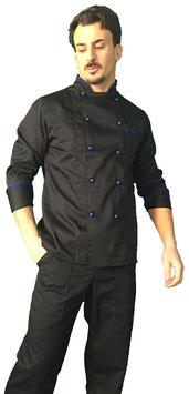 Giacca cuoco uomo Nero/ Azzurro manica Lunga