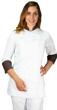Giacca cuoco Lady Bianco/Cioccolato