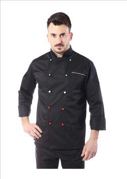 Giacca cuoco uomo Nero Italia manica lunga