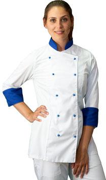 Giacca cuoco Lady Bianco/Blu Royal
