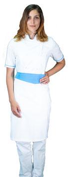 Completo Cuoco Lady M/C Bianco/Ciano