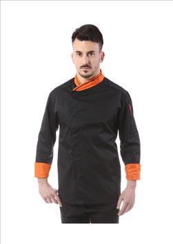 Giacca cuoco uomo Rigo Nero/arancio