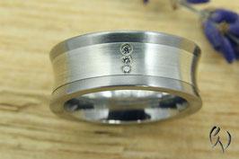 ProduktnameRing Stahl mit Silber, 3 Brillanten