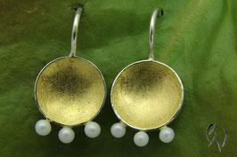 Ohrstecker Silber 925/- mit Perlen, goldplattiert
