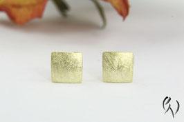 Ohrstecker Gold 585/-, Miniquadrat mattgekratzt